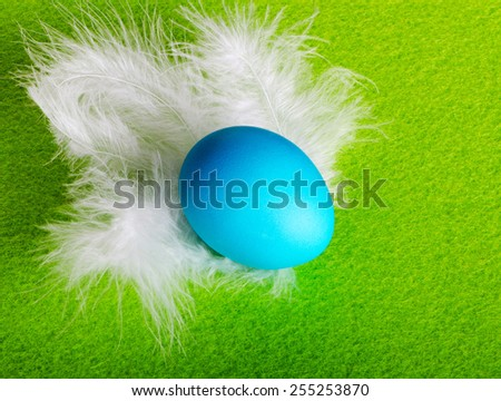 Easter egg blue feathers on a green background - stock photo