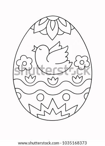 Easter Egg Coloring Book For Children Hand Drawn Cartoon Illustration