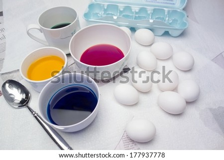 Easter Egg Dying - stock photo