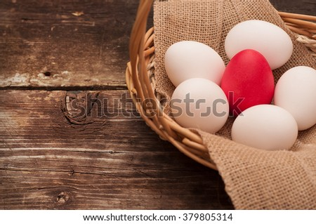 Easter Egg. Easter eggs lying in a basket. Easter ideas. Happy easter. Space for text. Selected focus. Toned image.