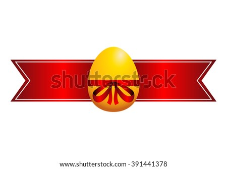 Easter egg, gold egg with red ribbon, red label for text - stock photo