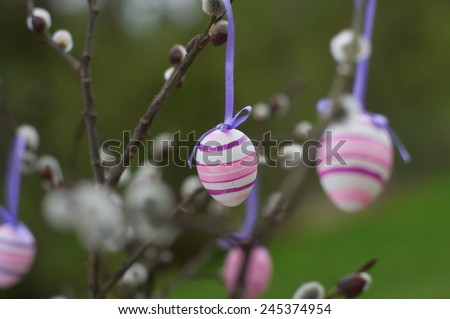 Easter Egg hanging from a Pussy Willow Branch  - stock photo