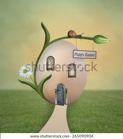 Easter egg house - stock photo