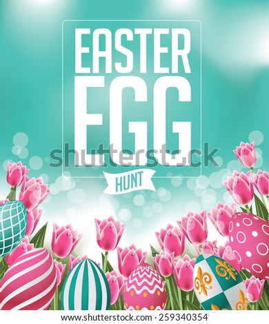 Easter egg hunt design with tulips royalty free stock illustration for greeting card, ad, promotion, poster, flier, blog, article, social media, marketing - stock photo