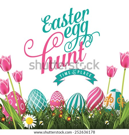 Easter egg hunt isolated with white background. Royalty free stock illustration for greeting card, ad, poster, flier, blog, article - stock photo