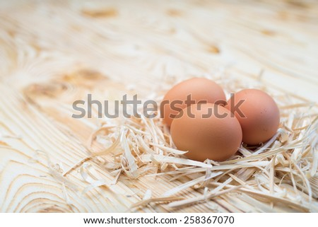 Easter egg in nest on vintage wooden background - stock photo