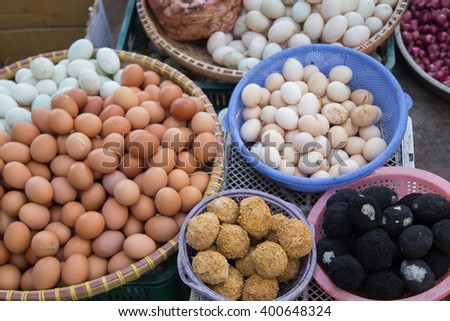 Easter egg market asia colorful chicken nobody