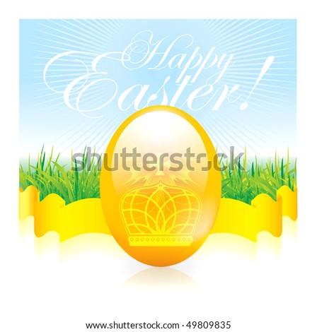 easter egg on background - stock photo