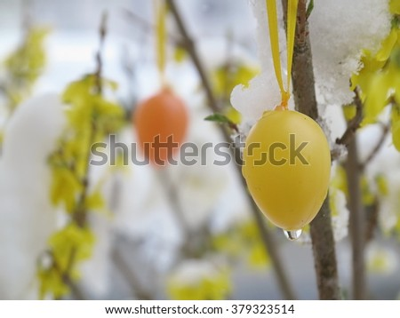 Easter egg rain - stock photo