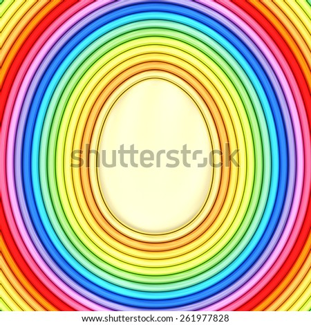 Easter egg shape composed of colorful metallic pipes. High resolution 3D image - stock photo