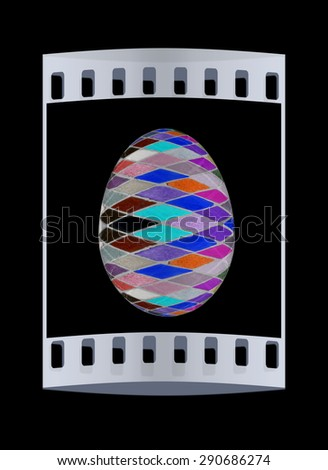 Easter Egg with colored strokes Isolated on black background. 3d. The film strip - stock photo