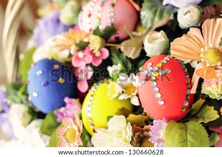 easter egg with flower full basket - stock photo