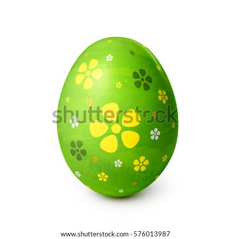 easter egg with flower pattern isolated on white background clipping path included