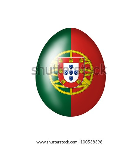 Easter egg with portugisischer flag on a white background