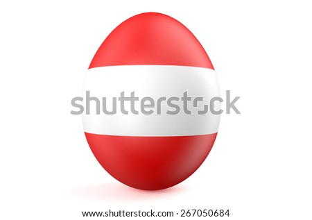 Easter egg with the flag of the Austria isolated on white background - stock photo