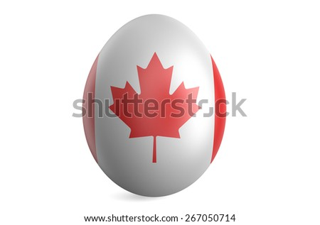 Easter egg with the flag of the Canada isolated on white background - stock photo