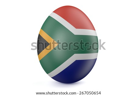 Easter egg with the flag of the South Africa isolated on white background - stock photo