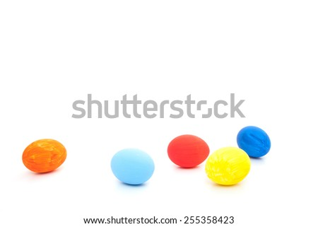 Easter eggs. All on white background.