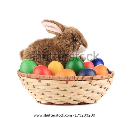 Easter eggs and basket isolated. Isolated on a white background. - stock photo