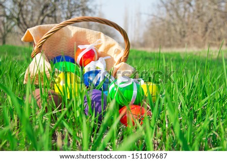 Easter eggs and basket with a napkin on a grass with a solar green natural background