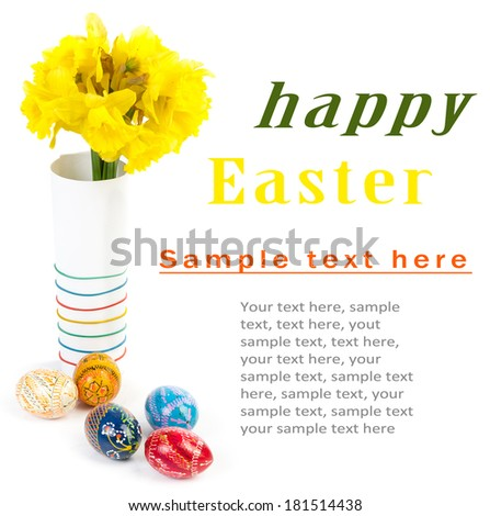 Easter eggs and flowers isolated on white with sample text - stock photo