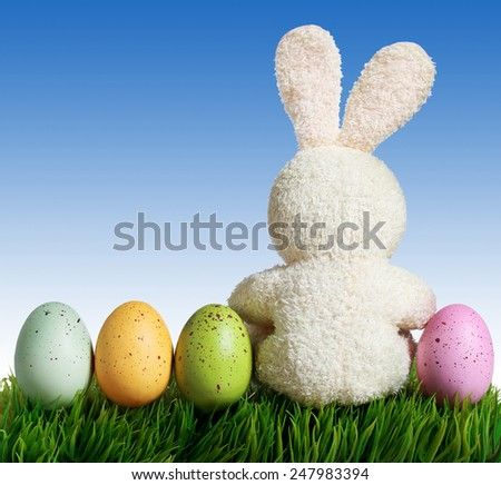 Easter eggs and rabbit on green grass with blue sky - stock photo