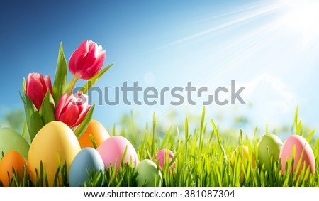 Easter eggs and tulip on meadow - stock photo
