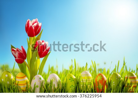 Easter eggs and tulips flower on meadow,easter day celebrate. - stock photo