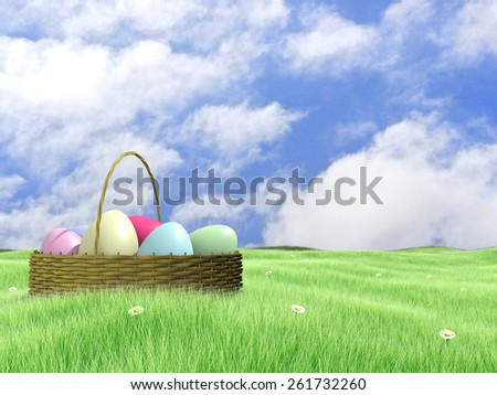 easter eggs basket and daisies