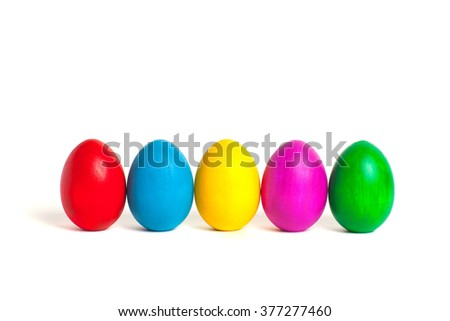 Easter eggs. Colored eggs on a white background.