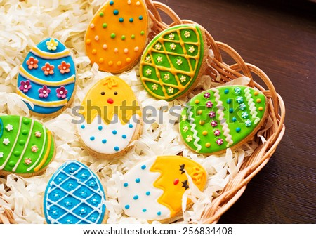 Easter eggs cookies decorated - stock photo