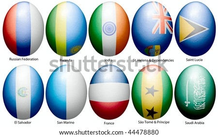 Easter eggs decorated with flags of the countries of the world placed on a white background on 10 pieces.