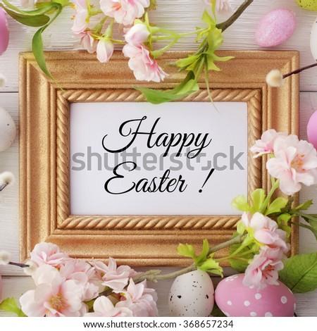 easter eggs frame background - stock photo