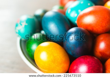 Easter eggs. Holiday table