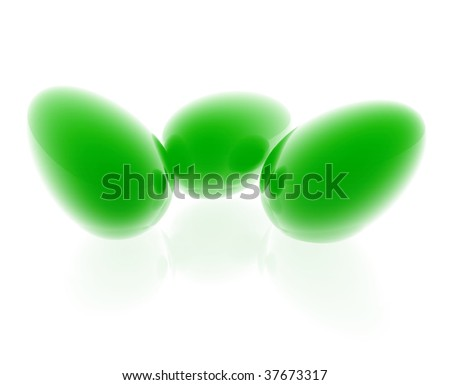 Easter eggs illustration glossy metal style isolated