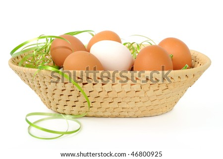 Easter eggs in a basket decorated on white background