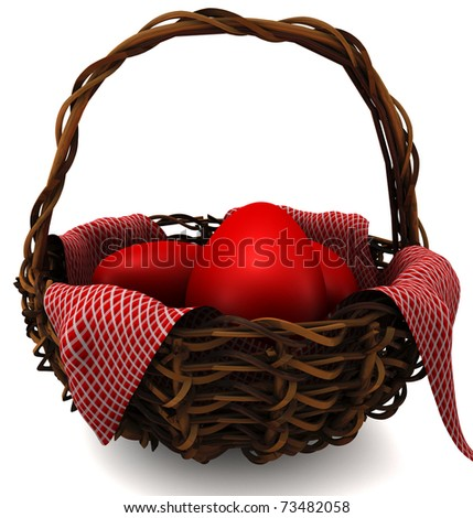 Easter eggs in a basket isolated on white. 3D render - stock photo