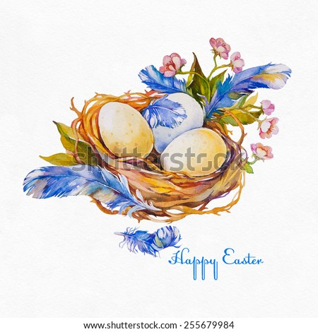 Easter eggs in a nest with feathers and flowers on a white background. Easter greeting card. Watercolor illustration. - stock photo