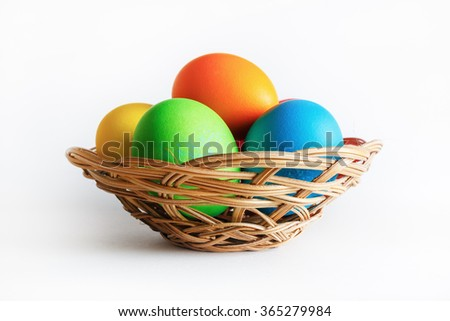 Easter eggs in basket. Colorful easter eggs. - stock photo