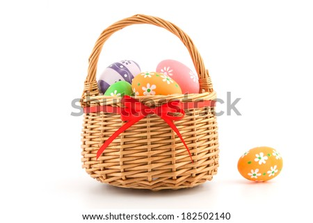 Easter eggs in basket isolated on white background - stock photo