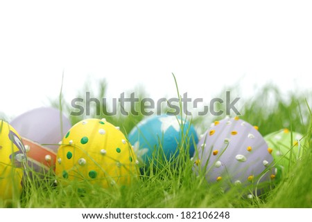Easter eggs in fresh green grass isolated on white