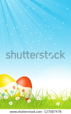 easter eggs in green grass, with blue sky and sun rays, easter greeting card, bitmap copy