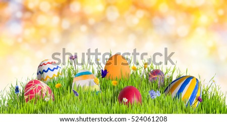 Easter eggs in green grass with flowers, happy holidays background
