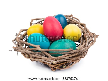 Easter Eggs in Nest isolated on White