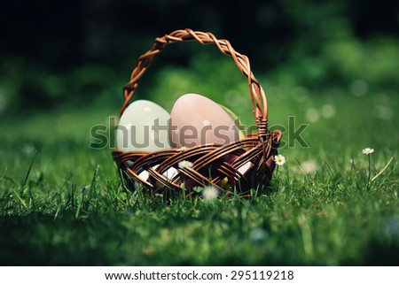 Easter eggs in the basket on grass background
