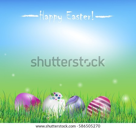 Easter Eggs In The Grass On Spring Background