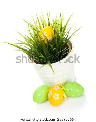 Easter eggs. Isolated on white background - stock photo