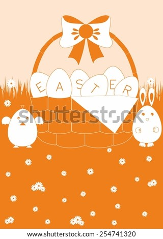 Easter eggs lying in a basket. Near chicken and rabbit. Background - stock photo