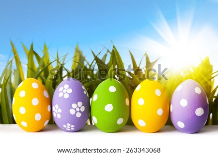 Easter eggs lying on the meadow. studio shot - stock photo
