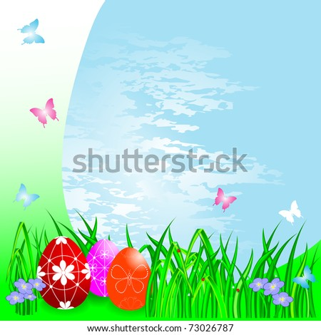 Easter eggs on a Spring background. Similar image in vector format  in my portfolio.